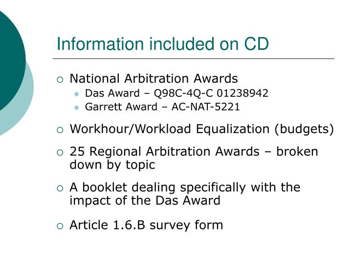 Information included on CD