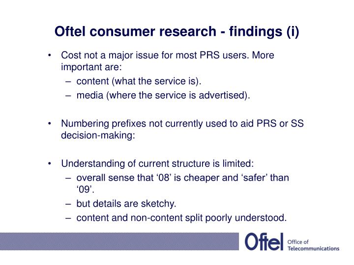 Oftel consumer research - findings (i)