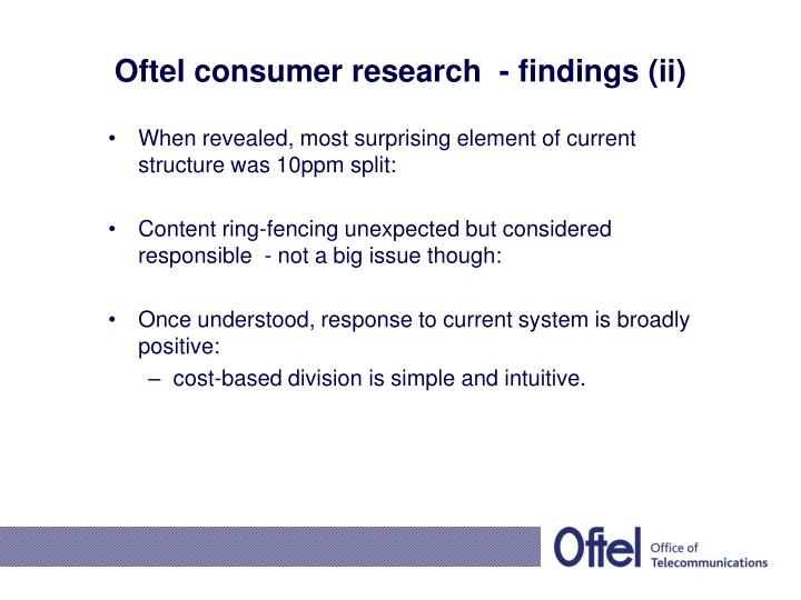 Oftel consumer research  - findings (ii)