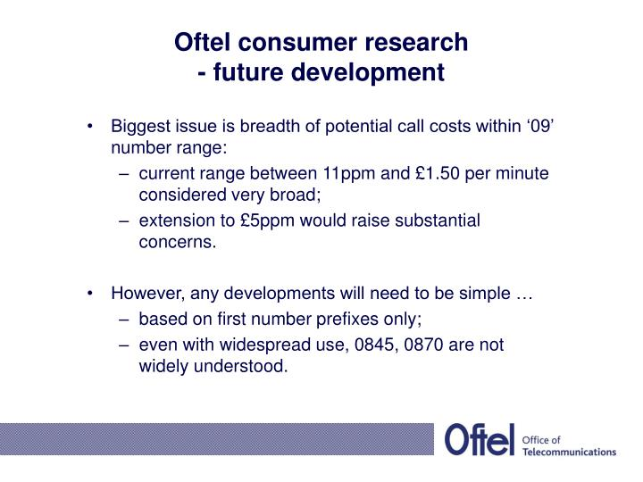 Oftel consumer research
