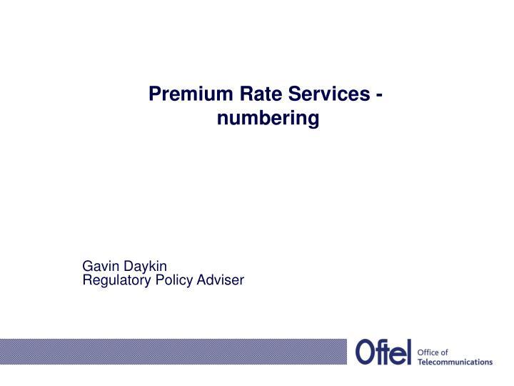 Premium rate services numbering