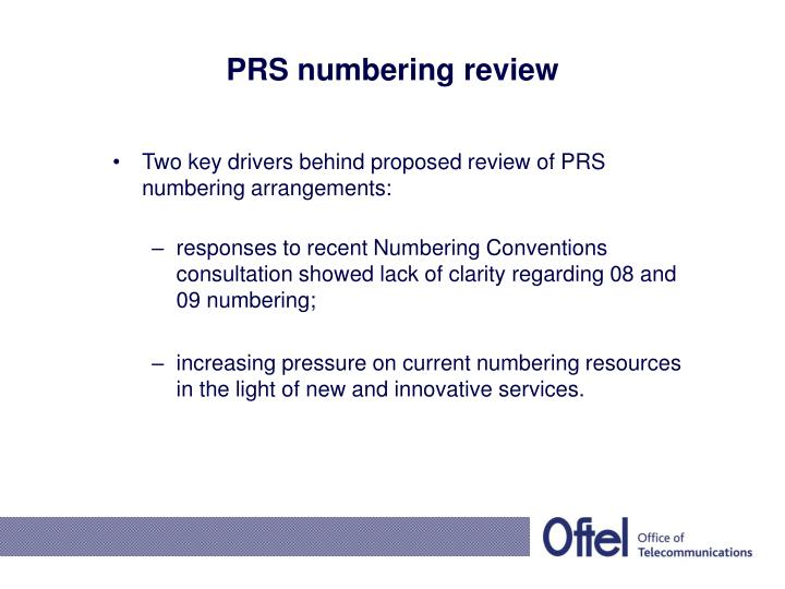 PRS numbering review