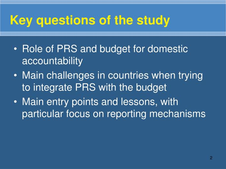 Key questions of the study