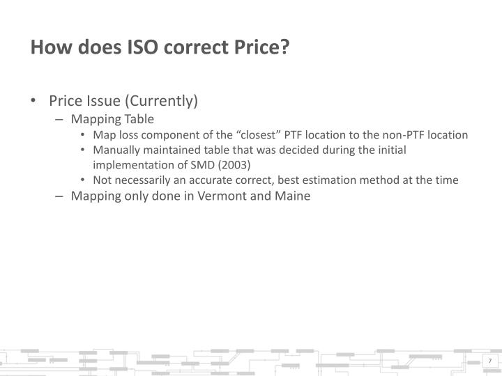 How does ISO correct Price?
