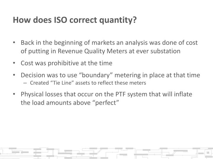 How does ISO correct quantity?