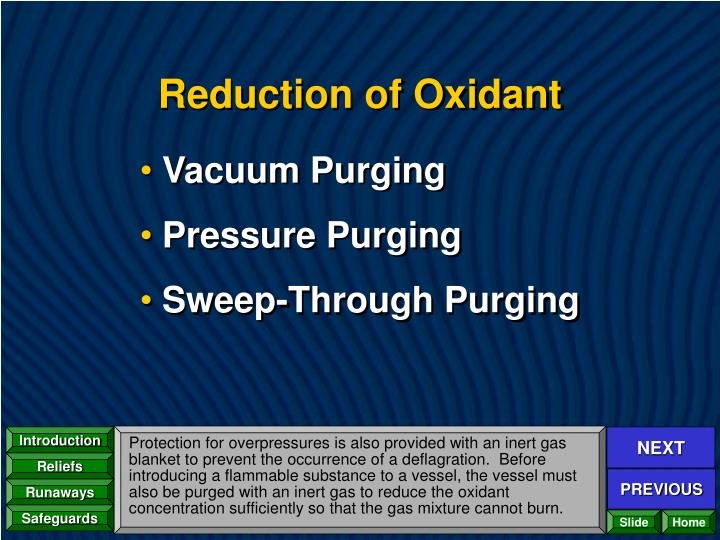 Reduction of Oxidant