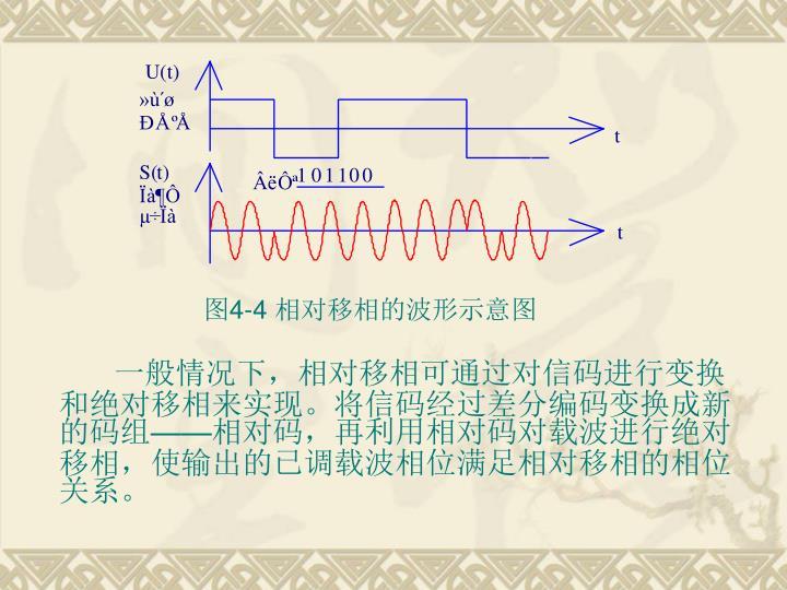 一般情况下,相对移相可通过对信码进行变换和绝对移相来实现。将信码经过差分编码变换成新的码组