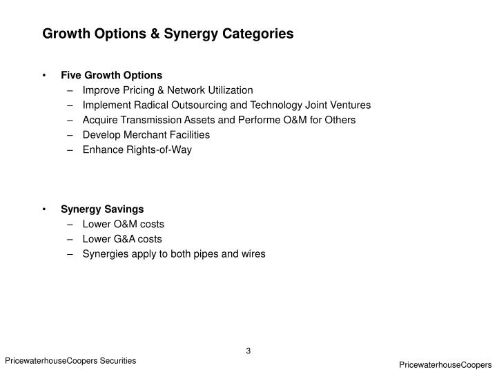 Growth options synergy categories