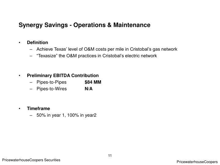 Synergy Savings - Operations & Maintenance