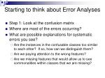starting to think about error analyses