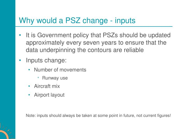 Why would a PSZ change - inputs