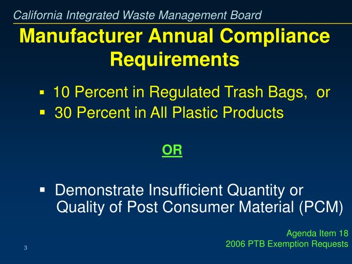 Manufacturer annual compliance requirements