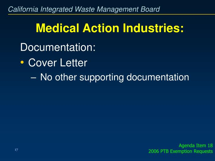 Medical Action Industries: