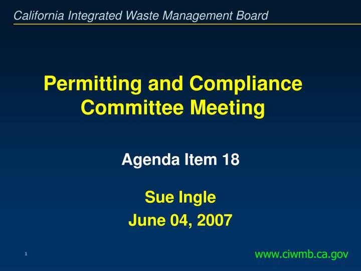 Permitting and compliance committee meeting