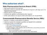 who authorises what