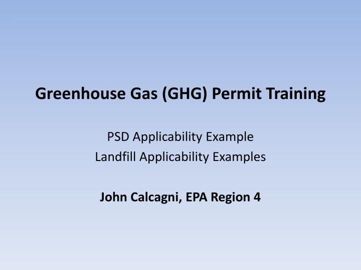 greenhouse gas ghg permit training n.