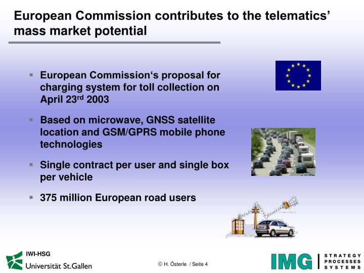 European Commission contributes to the telematics' mass market potential
