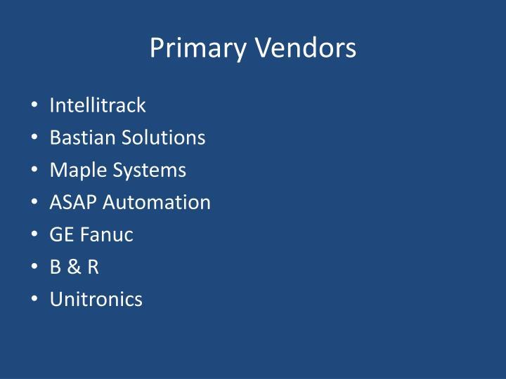 Primary Vendors