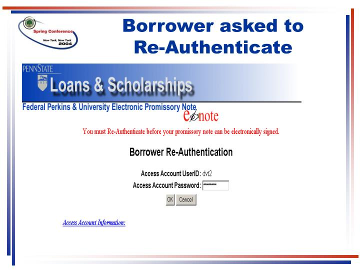 Borrower asked to