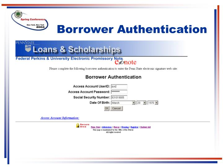 Borrower Authentication