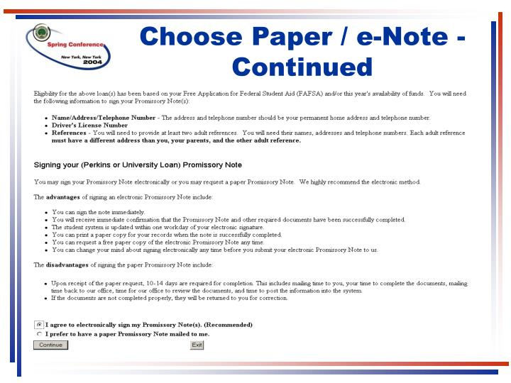 Choose Paper / e-Note - Continued