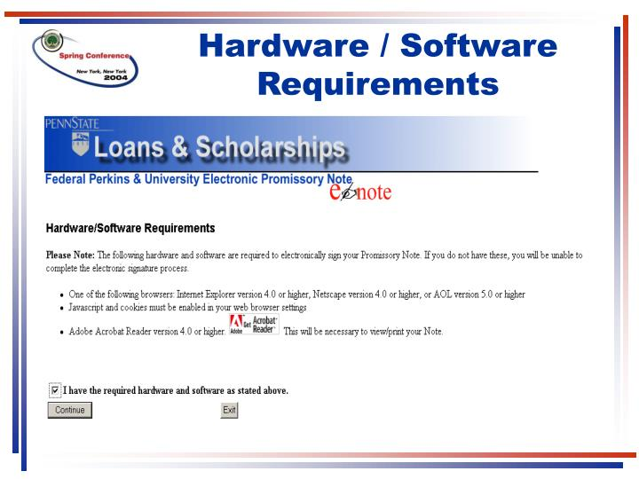 Hardware / Software Requirements