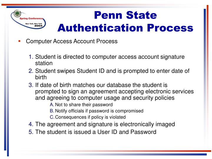 Penn State Authentication Process