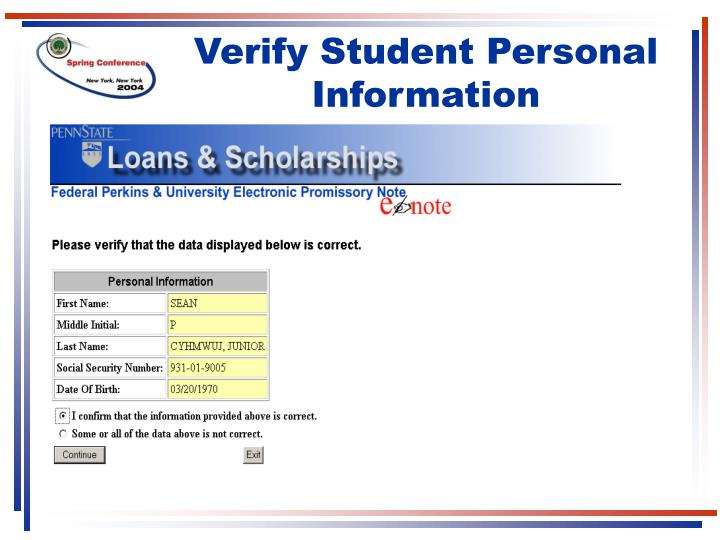 Verify Student Personal Information