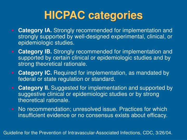 HICPAC categories