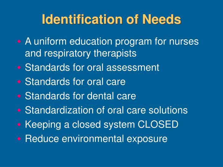 Identification of Needs