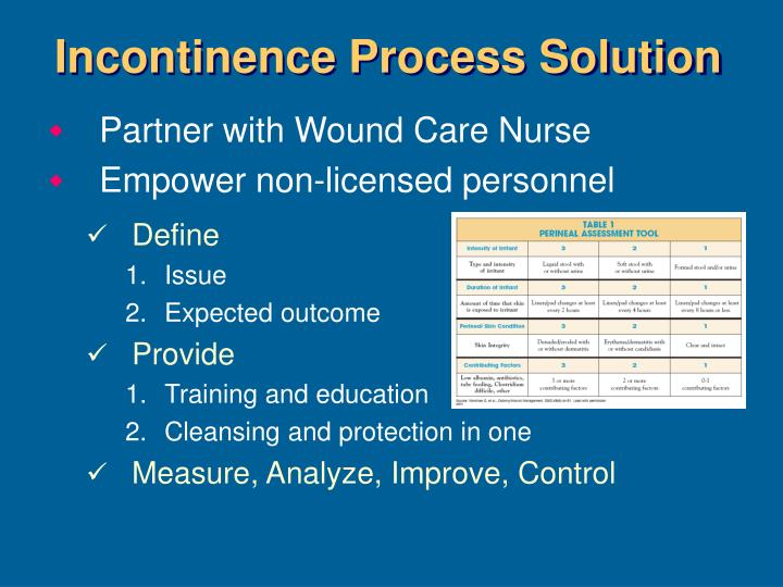 Incontinence Process Solution