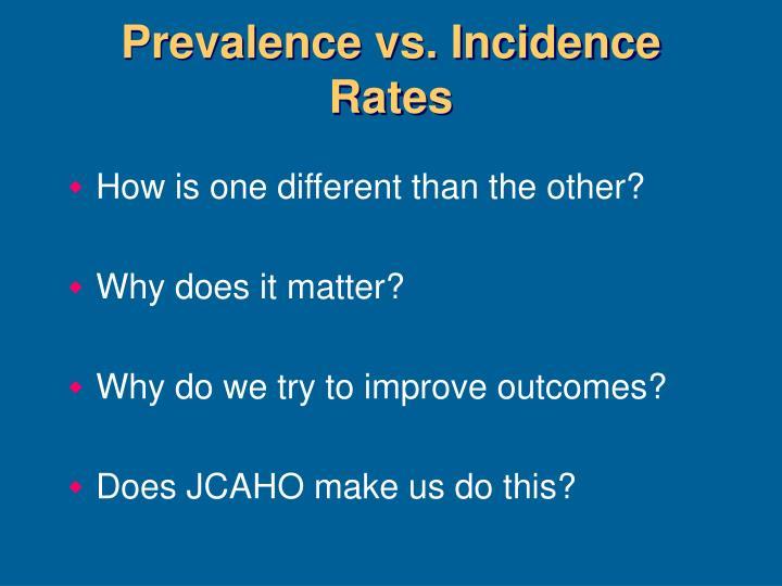 Prevalence vs. Incidence Rates