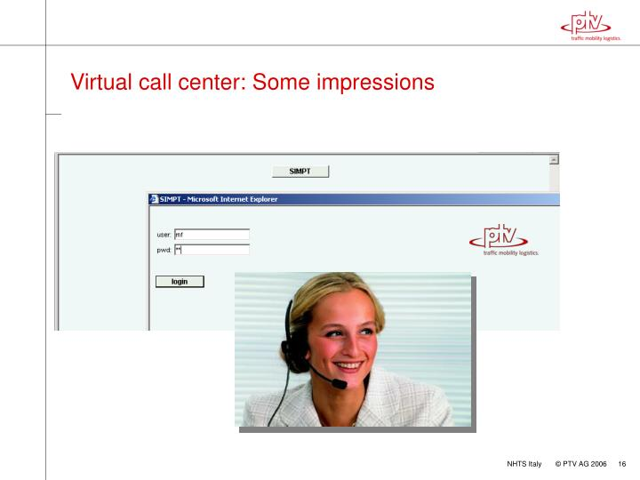 Virtual call center: Some impressions