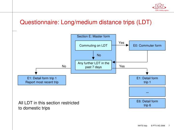 Questionnaire: Long/medium distance trips (LDT)