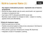sln to learner ratio 1