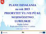plany dzia ania na rok 2013 priorytet vi i vii po kl wojew dztwo lubelskie