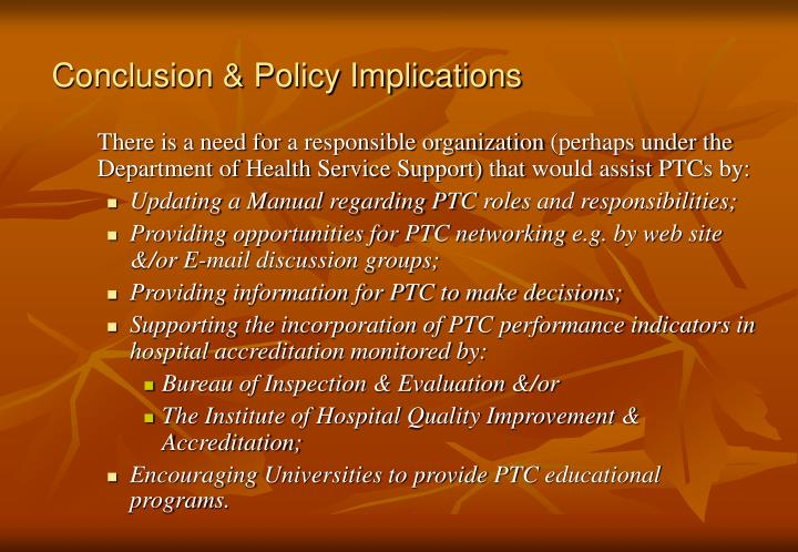Conclusion & Policy Implications
