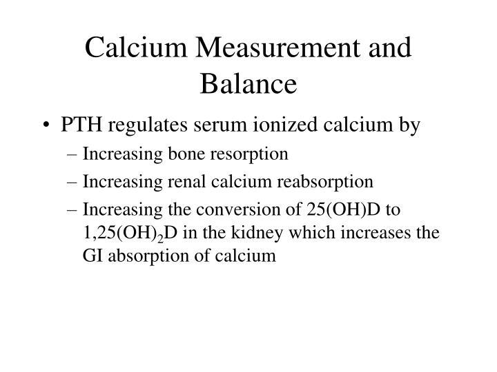 Calcium Measurement and Balance