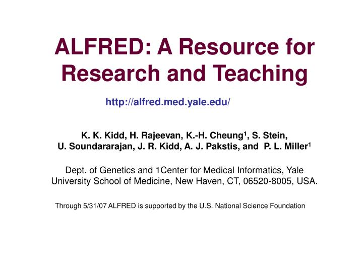 alfred a resource for research and teaching