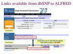 links available from dbsnp to alfred