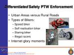 differentiated safety ptw enforcement