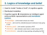 5 logics of knowledge and belief