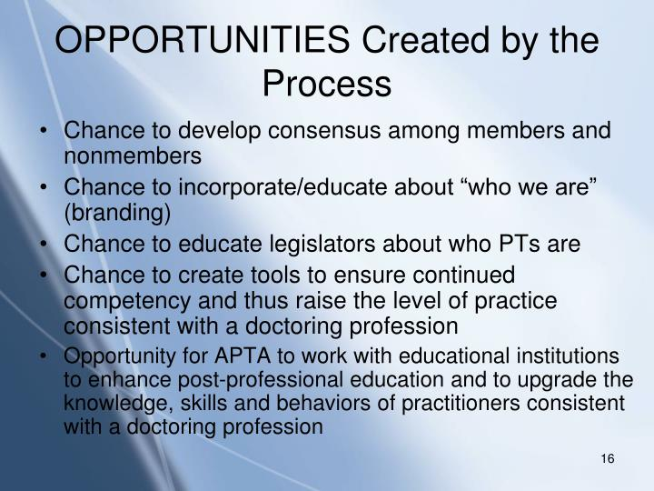 OPPORTUNITIES Created by the Process