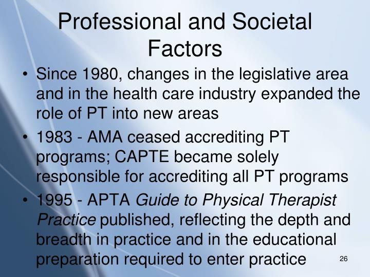 Professional and Societal Factors