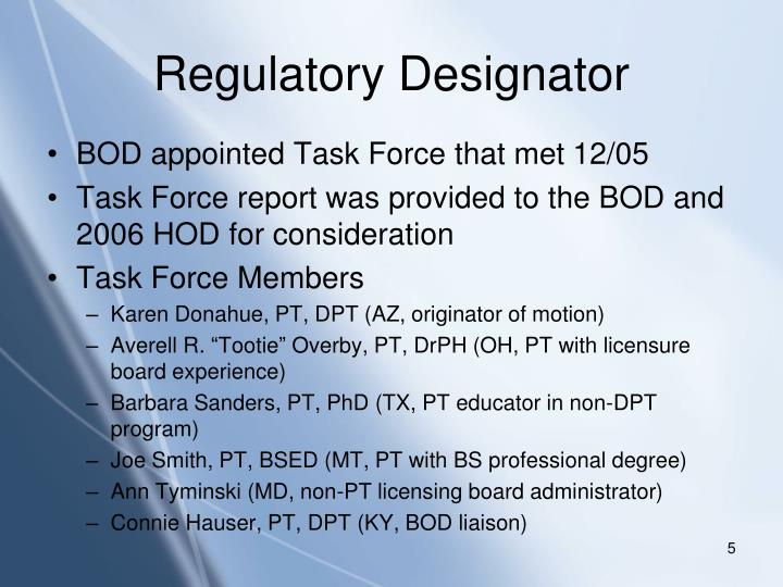 Regulatory Designator