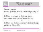 tdr for data processing how does it work