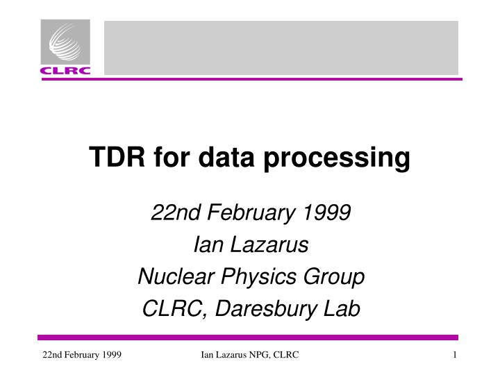 tdr for data processing n.