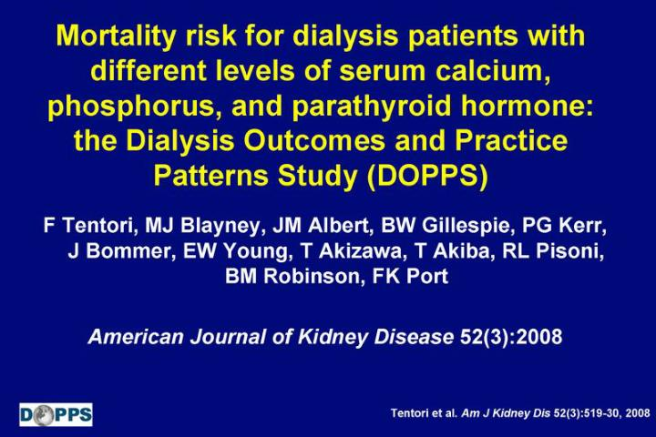 Mortality risk for dialysis patients with different levels of serum calcium, phosphorus, and parathy...