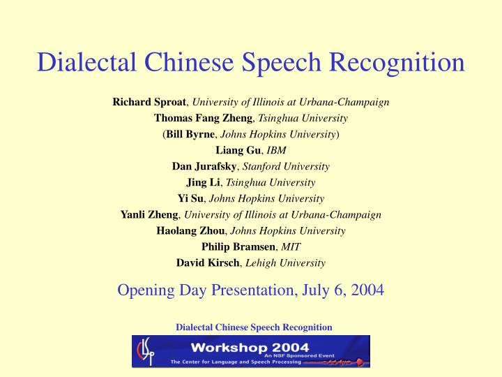 dialectal chinese speech recognition n.