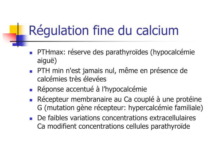 Régulation fine du calcium
